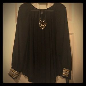 Metallic accent black blouse and necklace